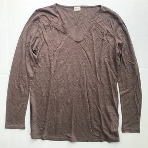NEW Poetry Linen Long Sleeve V Neck Shirt